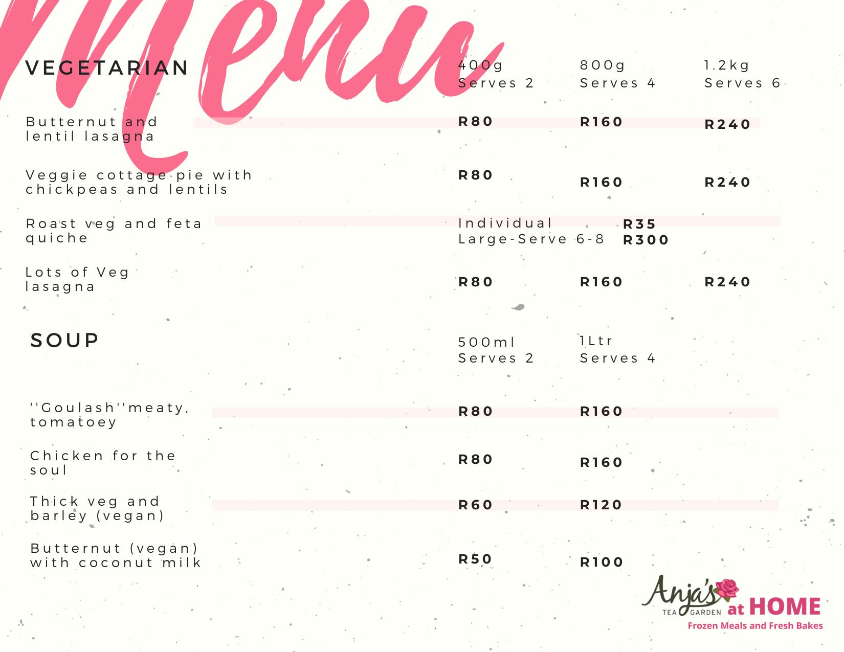 Frozen Foods menu 2