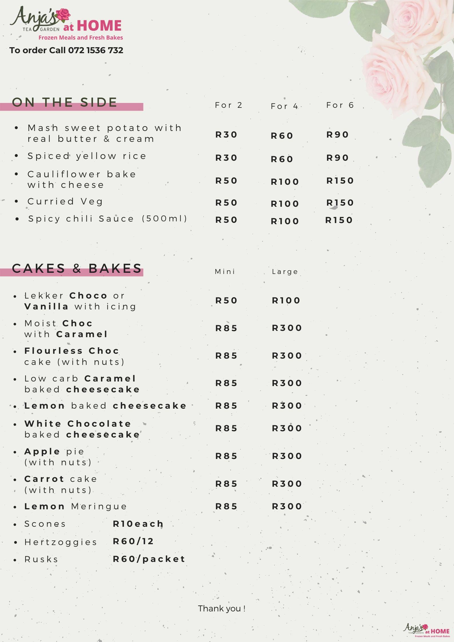 Frozen meals and fresh bakes menu p2